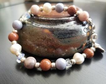 Pearl, Agate and Jasper Earth Tone Bracelet