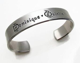 Personalized Bracelet, Personalized Bracelet Cuff, Hand Stamped Jewelry, Personalized Grandma Bracelet, Personalized Mom Jewelry, Mom Gift