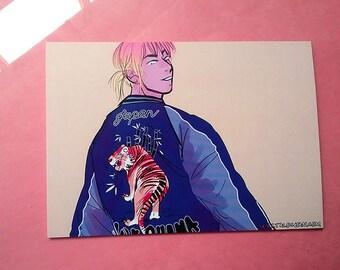 5x7 and 4x6 Mini Art Print Postcard Tiger Sukajan Original Comic Art