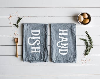 Hand and Dish Matching Tea Towel Set of 2 • Gray and White Modern Typographic Towel Design • Modern Farmhouse Kitchen Decor • FREE SHIPPING