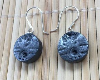 Black Silver Beachcomber Faux Stone Dangle Earrings - Handmade Rustic Jewelry for Women Gift for Wife Girlfriend Teacher Mom