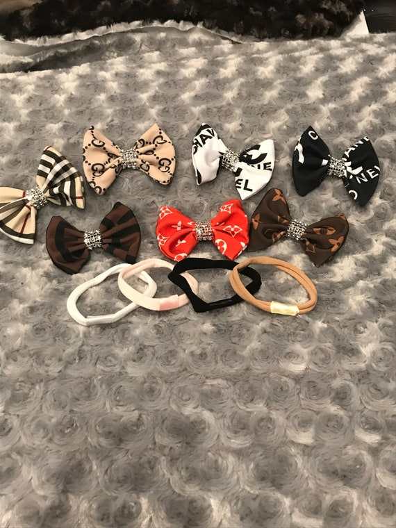 Newborn designer bow and headband set , spoiled rotten diva package comes with all 7 bows and 4 interchangeable headbands