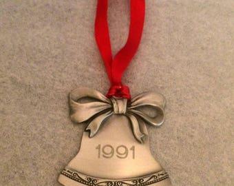 Pewter Keepsake Christmas Bell Ornament - Dated 1991 - Red Ribbon Hanger - Vintage Holiday Decor - Christmas Decoration - Christmastime