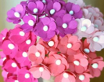 40 Paper Flowers Pink / mini pink paper flowers/pink flowers with stems/small paper flowers/mini flowers/mini pink flowers/pink fuschia