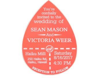 Aluminum Wedding Invitation, Bright Luxury Personalized Wedding, Party Engraved, Stationary, Events, Unique Keepsake, Magnet