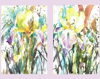 Diptych No.16 flowers, original watercolor