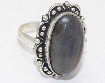 Labradorite 925 Silver Ring Adjustable