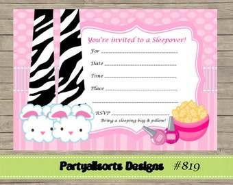 Diy sleepover pizza and cupcake party nvitations diy fill in yourself pajamasleepoverslumber party invitations instant download solutioingenieria Images