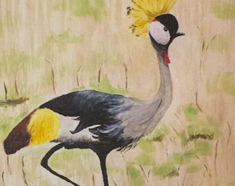 African Crowned Crane Bird Acrylic Painting