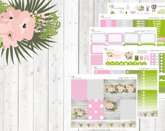 weekly kit - wooden flowers (Erin Condren and Happy Planner Stickers)
