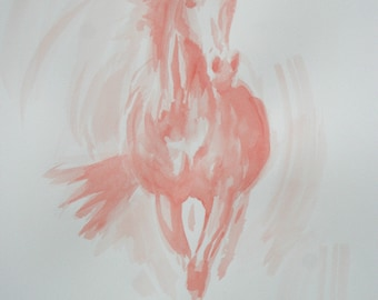 Original horse art equine art energy and movement equine horse ink study sketch movement art drawing 'Red III' by H Irvine