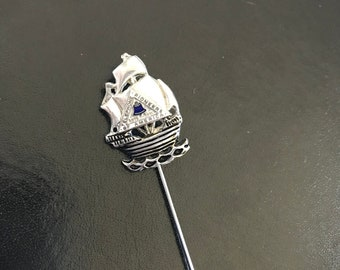 Vintage Silver Tone Telephone Pioneer of America Stick Pin