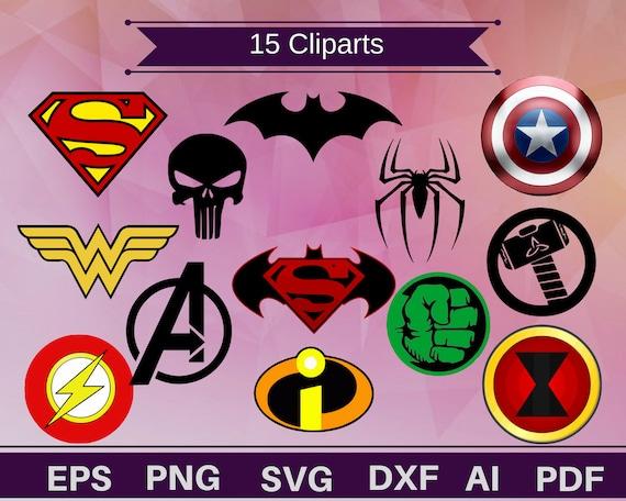 15 superhero logos superhero clipartsuperhero svg superhero logo svg superhero vectorsuperhero shirtsuperhero printablesuperhero gift