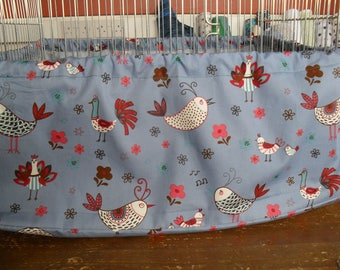 Large bird cage tidy French Hens Blue