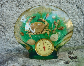 French Lucite/plastic/perspex with flowers thermometer