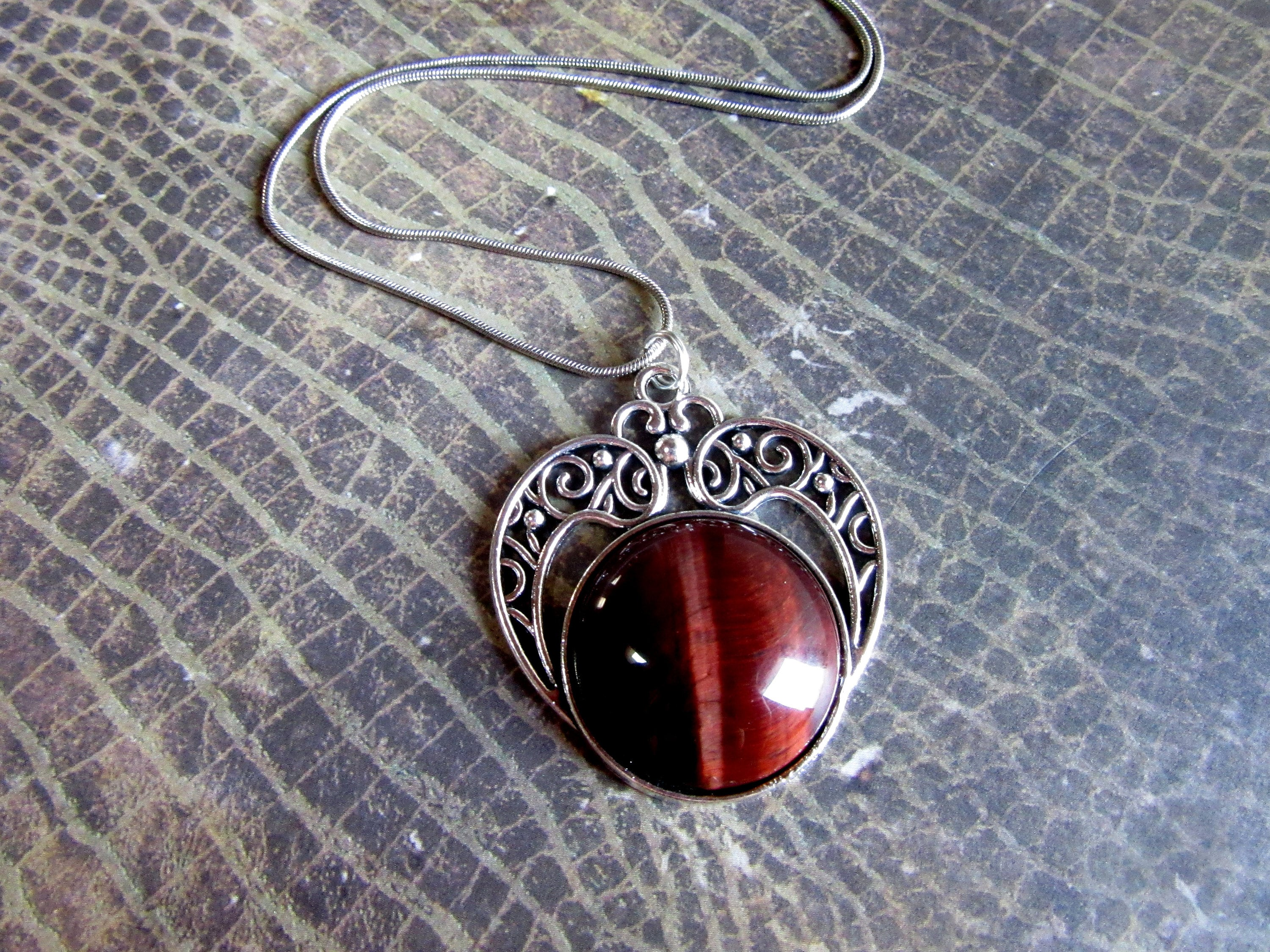 Silver red tigers eye necklace red tiger eye jewelry red tigers silver red tigers eye necklace red tiger eye jewelry red tigers eye pendant healing crystal necklace red tigers eye stone necklace mozeypictures Images