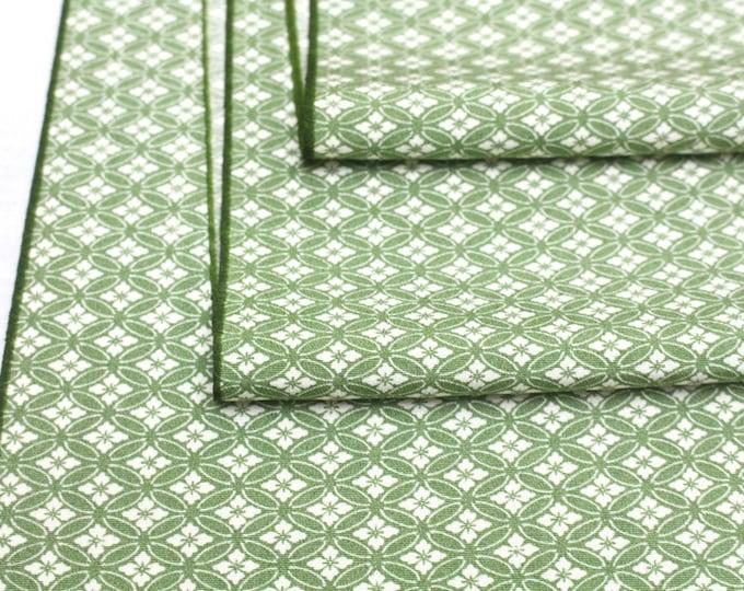Vintage Japanese Edokomon Silk. Artisan Kimono Fabric. Green White (Ref: 1615)