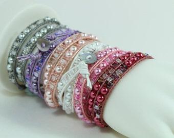 Double Wrap Bracelets Pastels and Tints