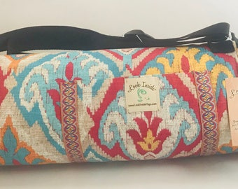 Handmade, durable, spacious,  unique one of a kind yoga mat bags