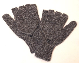 Hand Knit Fingerless Glove with Mitten Flap