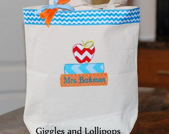 Girls or boys personalized canvas school tote bag or teacher gift