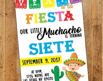 Mexican Fiesta Birthday Digital Invitation / Colorful Printable Invite