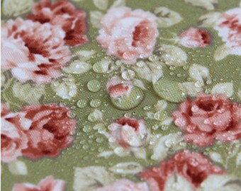 Laminated Flowers Cotton Fabric - Green - By the Yard 84379