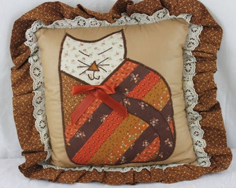 Vintage Cat Pillow Country Hand Stitched Pillow Quilted Calico Cat