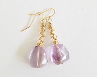 Ametrine Earrings, Handmade Earrings, Earrings, Gold Earrings, Gemstone Earrings, Gift Ideas, Women's Jewelry, Jewelry, Statement Earrings