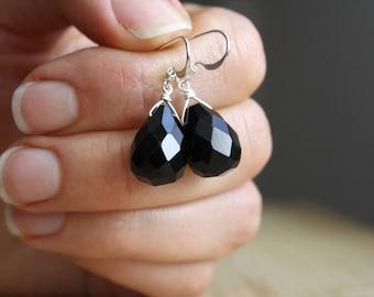 Faceted Black Onyx Earrings . Sterling Silver Gemstone Dangle Earrings . Large Black Earrings . Jet Black Drop Earrings