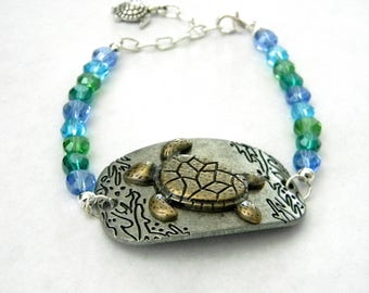 Sea Turtle Bracelet Aqua Glass Bead Mix and Metal Bracelet with Adjustable Chain  Bracelet