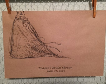 Customized wedding gown placemat