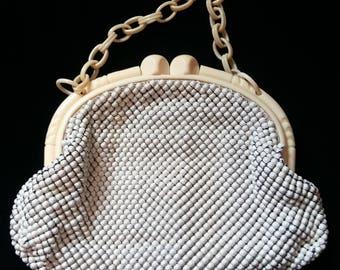Vintage 50s Purse Handbag Beaded Vintage 1950's Mesh Whiting Davis Women's Clothing Accessories