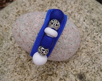Creapam 4 in 1 bracelet in blue lycra and polymer clay