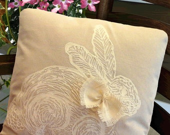 Baby Nursery Rabbit, White Rabbit, Rabbit Print, Easter, Holiday Accent Pillow, Porch Pillow, Hand-painted, Pillow Cover
