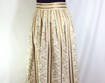 1970s Gold and Cream Floral Striped Brocade Maxi Skirt size S