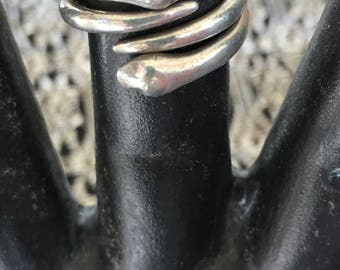 Sterling Silver Rings, Set of Two, Entwining Snakes, Hand Cast
