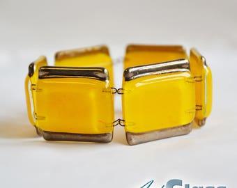 Bracelet handmade painted yellow with platinum