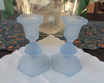 VINTAGE - Frosted Blue Candlesticks