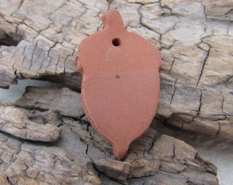 Terracotta Brown Ceramic Acorn Pendant