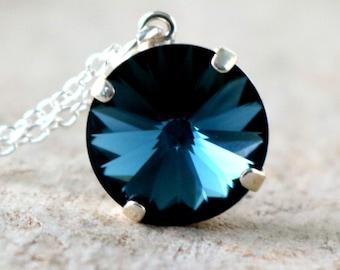 Navy | Swarovski Necklace | Crystal Necklace | Swarovski Jewelry | Navy Blue Necklace | Beach Wedding | Navy Wedding | Montana Blue Jewelry