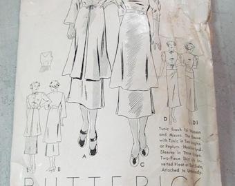 1930s Dress Pattern 1940s Dress Pattern Old Size 18