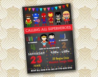 Superhero Invitation, Twins Party invite, joint birthday party, Two kids Superhero Party Birthday invitation, sibling birthday