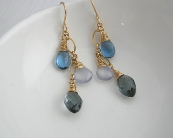 Long Chained Blue Drop Earrings