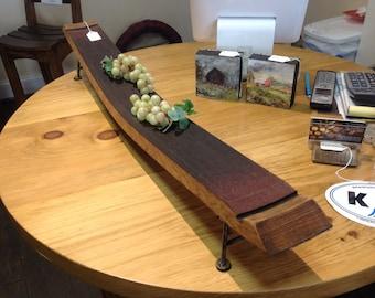 Wine barrel stave food server hourdervs tray sushi boat steel feet oak reclaimed oak wood