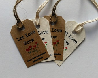 Let Love Grow, Flower wedding favour, Seed wedding favour, Wedding favour tags, wedding flower favor, seed favor, flower favor, flower tags.