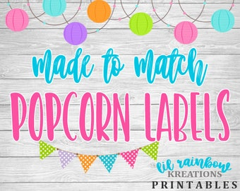 Made To Match Popcorn Labels For Any Theme
