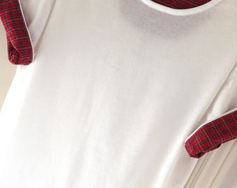 NEW Size L Fall Red Plaid White Cotton Poly Short Sleeve Tee Shirt Rare