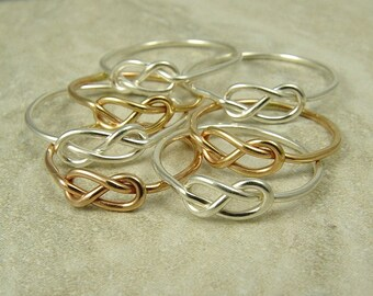 Five Infinity Rings / Tie the Knot Ring / Bridesmaids Gift / Knot Ring / Love Knot Ring