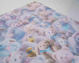Vintage 1980's Baby Shower Wrapping Paper Blue Gift Wrap Paper Stuffed Animals Teddy Bears Bunnies
